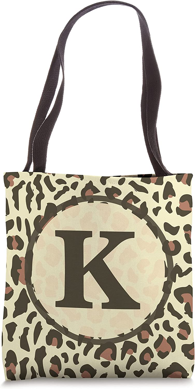 leopard animal print pattern monogram Tote name letter initial k Max 61% OFF Indefinitely