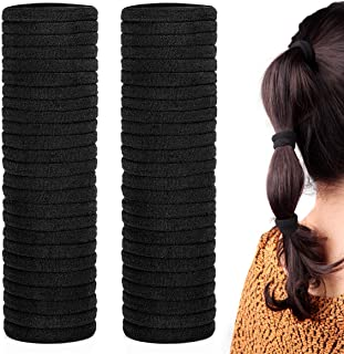 50 Pack Dreamlover Seamless Thick Cotton Hair Rubber Bands, Elastic Durable Holders Hair Ties, Ponytail Buns Headbands, Black