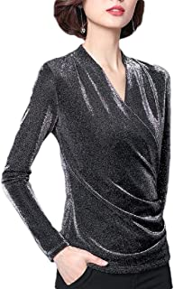 Women Solid Color V-Neck Long Sleeve Pullovers Wrap Blouse Tops