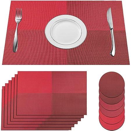 Set de Table Antid/érapant Lavable R/ésiste /à la Chaleur ZWOOS Sets de Table Lot de 6 Set de Table Rond 38cm Argent