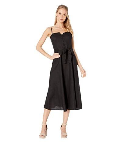 1.STATE Spaghetti Strap Tie Waist Linen Dress (Rich Black) Women
