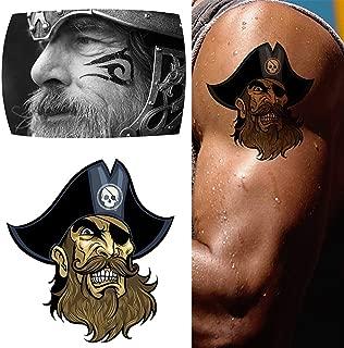 Viking Pirates Temporary Tattoo Pirates of the Caribbean Fake Tattoos Fashion Body Art Tattoo Stickers For Man Women 2 Sheets