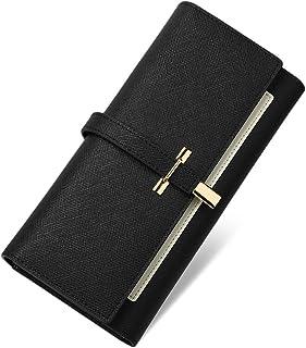 CLUCI Leather Wallet for Women Slim Designer Trifold Ladies Credit Card Holder, Black, Large, Rfid Wallet