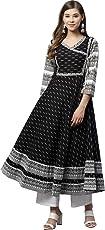Yash Gallery Women's Cotton & Cotton Slub Ikat Printed Anarkali Kurta (Black)