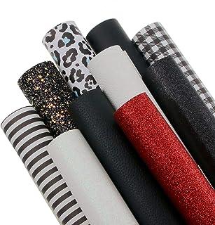 10 Pieces/Set 8x12 Inch(20cmx30cm) A4 Bundle Leather Sheets Mixed Series Sparkle Fine Chunky Glitter Litchi Texture Printe...
