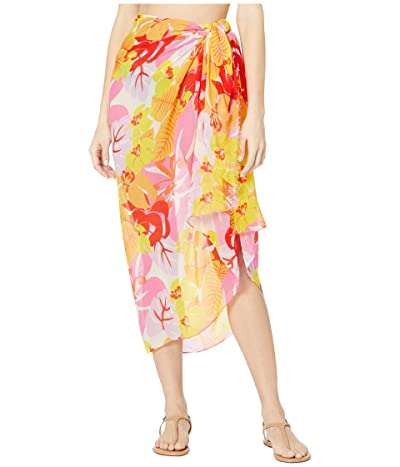 Echo New York Cutout Floral Pareo Wrap (Pink Hibiscus) Women