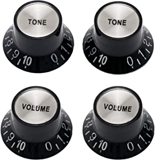 Metallor Electric Guitar Top Hat Knobs Control Buttons 2 Volume 2 Tone Black With Silver Insert Brand New Compatible with Les Paul Guitar Parts Replacement Black.