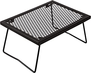 RedSwing Portable Folding Campfire Grill, Heavy Duty Outdoor Camping Grill Grate with Legs, Black