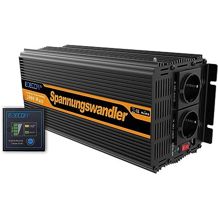 Edecoa Spannungswandler 2000w Modifizierte Sinus Wechselrichter 12v 230v 2x Usb Und Fernbedienung Wechselrichter Wohnmobil 2000w Wechselrichter Solar Auto