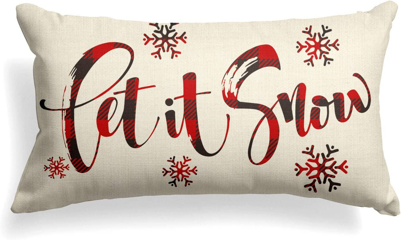 AVOIN Buffalo Plaid Let depot it Snow Throw Pillow Inch 20 12 Cover x Fees free!!