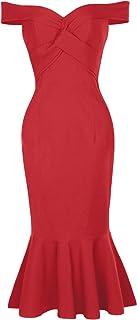 Belle Poque Women Vintage Sleeveless Off Shoulder V-Neck Pencil Dress BP336