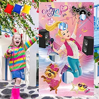 JoJo Siwa Toss Game with 3 Bean Bags – Cute JoJo Siwa Bows Theme Party Supplies Decorations Rainbow Lollipop Music Style Birthday Party Sign for Kids Girls Boys– Outdoor Indoor Activity Games