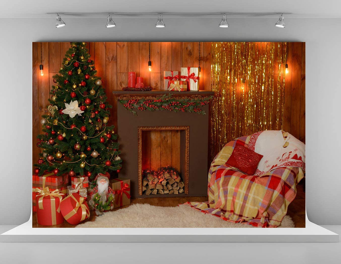 Kate 20x10ft Christmas Fireplace Photography Backdrops Xmas Tree Backdrop Presents Gifts Decoration Backgrounds Brown Wooden Wall Background for Photoshoot