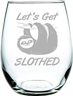 C M Lets Get Slothed stemless wine glass 15 oz.