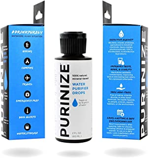 PURINIZE - The Best and Only Patented Natural Water Purifying Solution - Chemical Free Camping and Survival Water Purifica...