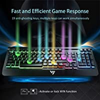 VicTsing Spill-Resistant Wired USB Keyboard with 5 Feet USB Cable and Foldable Stands