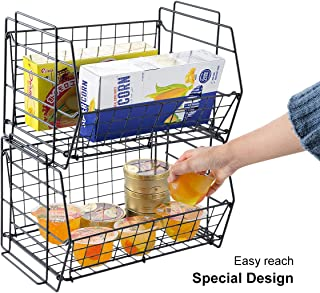 HOMEIDEAS Set of 2 Stackable Open Front Basket Storage Organizer Shelf Mesh Metal Space Saving with Handle for Home,Kitchen,Cabinets,Countertops,Bathrooms Black