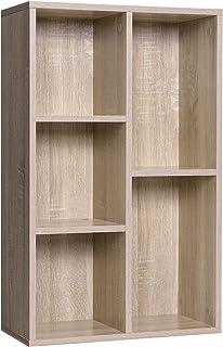 WOLTU Libreria Moderna Design Rovere Chiaro RGB08hei con Ante in Legno e Metallo 80 x 35 x 97 cm Scaffale Portaoggetti per Libri CD