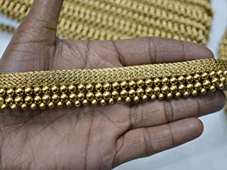 Embellishments 0.8 Inch Fringes Piping Beaded Designer Trim by 9 Yard Costumes Sewing Gold Finish Acrylic Christmas Supplies Decorative Sari Border Home Decor Trimmings