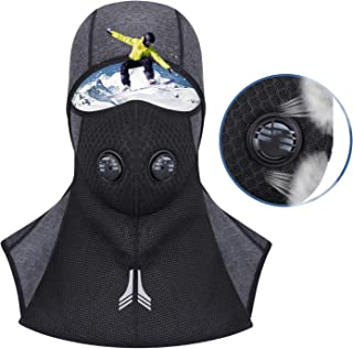 Htwon Ski Face Mask Winter Cold Weather Fleece Windproof Balaclava Neck Warmer with Breathable Vents for Skiing Cycling Motorcycling for Men Women