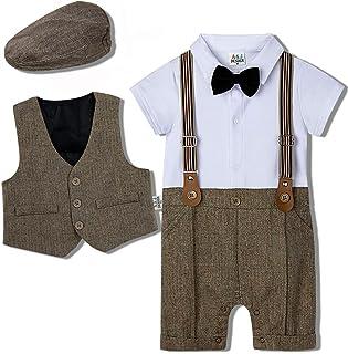 mintgreen Jungen Gentleman Smoking Anzug Kurzarm Strampler mit Krawatte Weste  Hut, 0-18 Monate