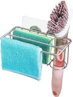 Carwiner Adhesive Sponge Holder + Brush Holder + Dish Cloth Hanger, 3-in-1 Sink Caddy Organizer Storage for Kitchen Sink, ...