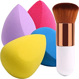 BEAKEY 4+1Pcs Makeup Sponges with Foundation Brush, Foundation Blending Sponge for Liquid Cream and Powder, Professional Beauty Sponge Blender & Kabuki Brush