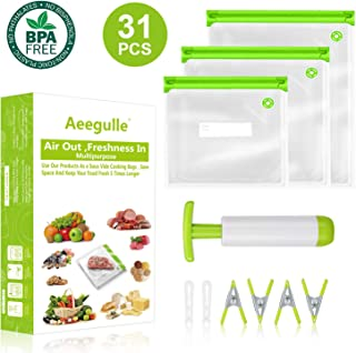Sous Vide Bags, 24 Reusable Food Vacuum Sealed Bags, 1Improved vacuum hand pump, 2 Bag Sealing Clips and 4 Sous Vide Clips, For Anova and Joule Cookers | Practical for Food Storage | More Space Saving | Food Storage Freezer Safe (31PCS) (Green)