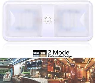 AutoEC 2 Mode 12V LED Ceiling Dome Light Fixture, Interior Light for RV, Trailer, Camper, Motorhome, Boat