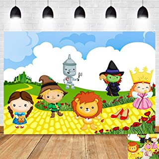 Cartoon Cute Wizard of Oz Photography Backdrop Vinyl Beauty Street Scenery Scarecrow Photo Background Children Birthday Party Supplies Baby Shower Decorations 5x3ft Banner