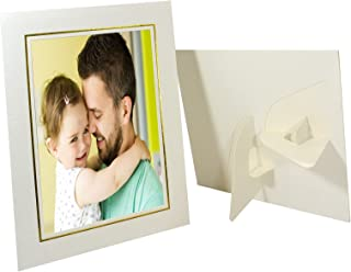 Golden State Art, Pack of 25, Cardboard Photo Easel Frame for 4x6 Photo, Ivory with Gold Lining