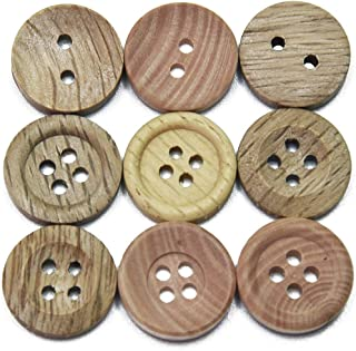 HUAHENG 30PCs Piping Wood Grain Wooden Buttons Natural Color Sewing Scrapbooking Clothes Decor Handmade 4 Holes (Color : M...