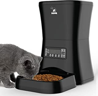 HICTOP Automatic Pet Feeder | Auto Pet Dog Timed Programmable Food Dispenser Feeder for Medium Small Pet Puppy Kitten - Portion Control Up to 4 Meals/Day 7L(Black)