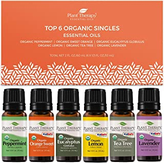 Sponsored Ad - Plant Therapy Top 6 Organic Essential Oil Set - Lavender, Peppermint, Eucalyptus, Lemon, Tea Tree 100% Pure...