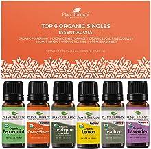 Plant Therapy Top 6 Organic Essential Oil Set - Lavender, Peppermint, Eucalyptus, Lemon, Tea Tree 100% Pure, USDA Organic,...