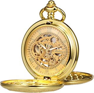 TREEWETO Pocket Watch Skeleton Hand-Wind Mechanical Double Case Roman Numerals Antique with Fob Chain Box