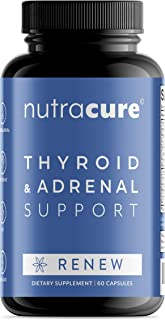 Renew Thyroid Support & Adrenal Support Supplement - 2 in 1 - Boost Metabolism, Focus Formula & Energy Boost - Allergen Free - Vitamin B12, Zinc, Selenium, Ashwagandha, Copper, & More - 60 Capsules