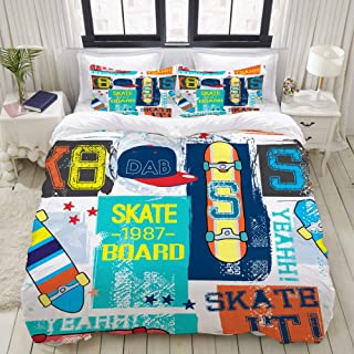 "Mokale Full Size Duvet Cover,Seamless Abstract Summer Pattern Skateboard Sk8,Decorative 3 Piece Bedding Set with 2 Pillow Shams,Zipper Closure,Ultra Soft 80"" 90"""