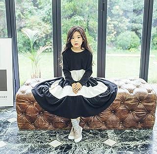 こどもドレス襟元女の子 ガールズ プリンセスドレス 長袖 ボーダー柄 入学式 発表会 結婚式 入園式 演奏会 冠婚葬祭