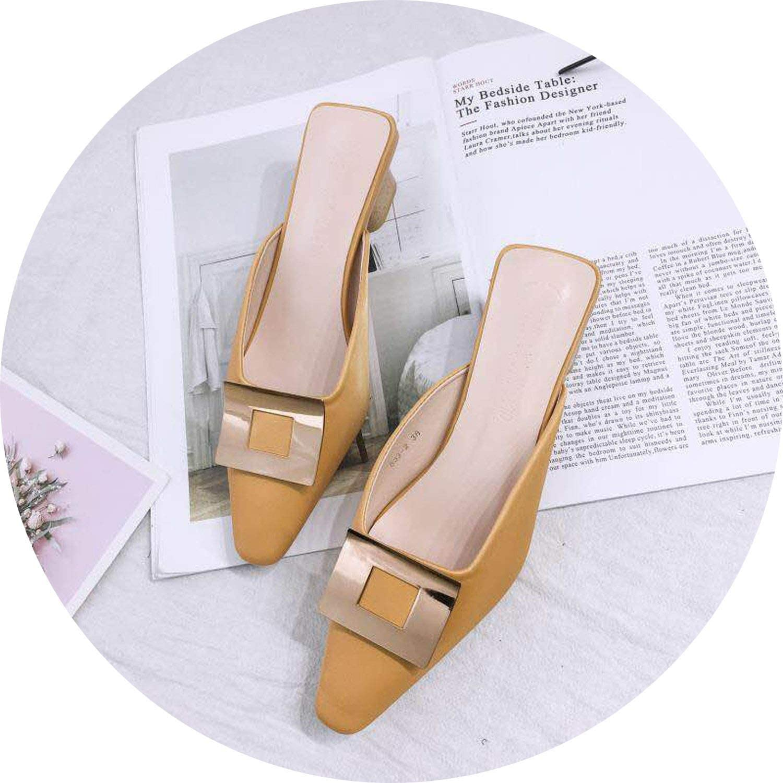 Little lemon Mules shoes Women Heel Slippers Slides Fashion Wooden Heels Leopard Mules Pointed Toe Slippers