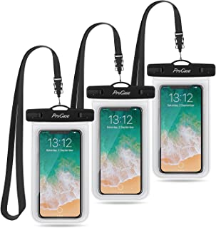 "Procase Universal Waterproof Pouch Cellphone Dry Bag Underwater Case for iPhone 11 Pro Max/Xs Max/XR/8/SE 2020, Galaxy S20 Ultra/ S20+/Note10+ S9 S8+, Pixel up to 6.9"" - 3 Pack, Clear"