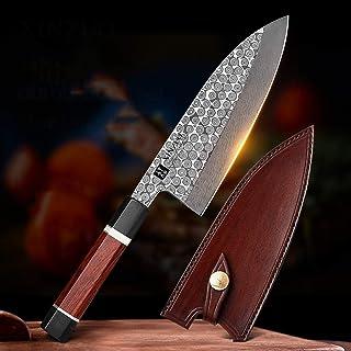 180mm Japonais Deba Tête de poisson Couteau Octagonal Poignée 110 Couches Damas Couteau de cuisine en acier à la viande et...