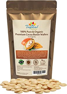 100% Natural Unrefined Raw Cocoa Butter Wafers 8 oz - Non-Deodorized, Organic Fair Trade Cacao Beans - Food Grade, Paleo, ...