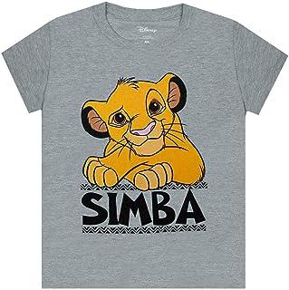 Camiseta Casual de Manga Corta Gris Lion Boy Simba Boy de Disney
