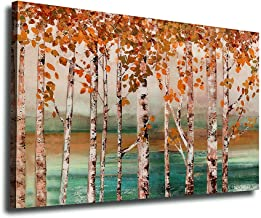 arteWOODS Canvas Wall Art Decor Birches for Bathroom Bedroom Living Room Vintage Forest Tree Leaf Canvas Artworks Contemporary Picture Prints for Office Wall Decoration 24