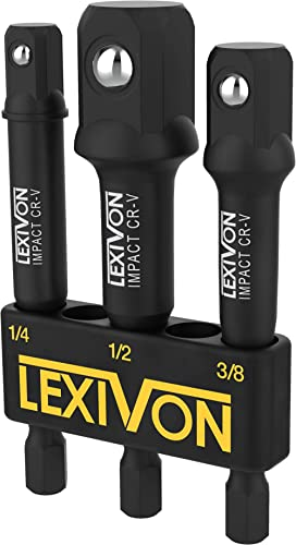 """LEXIVON Impact Grade Socket Adapter Set, 3"""" Extension Bit With Holder 