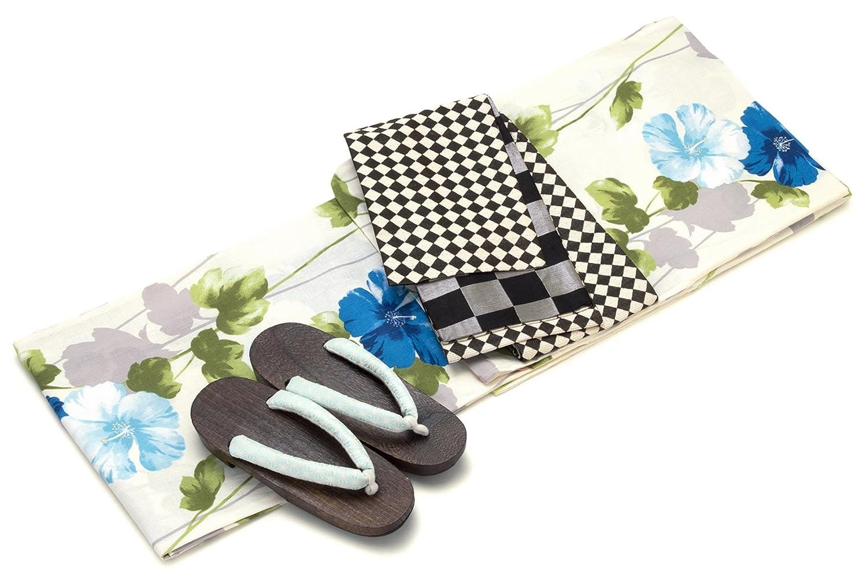 レディース浴衣セット[浴衣/半幅帯] bonheur saisons 白系 オフホワイト 青 ブルー 黒 花芙蓉 ラメ 綿麻 浴衣セット 女性 フリーサイズ