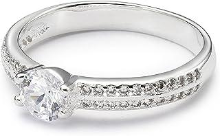 8 Precision-Cut Cubic Zirconia Inlay-Size 6 7 Silver-Plated 6Kt Dew Ring Piper Rose Ashlynn Avenue
