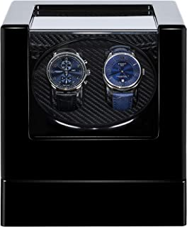 Kalawen Double Watch Winder Luxury Wooden Storage with Quiet Japanese Mabuchi Motor for All Automatic Mechanical Watches with Quiet Motor AC Adapter or Battery Powered for 2 Men's or Ladies', Black