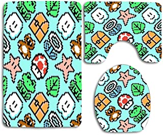 Super Mario Bros 3 Items Blue Sky Large Bath Rug Set 3 Piece Non Slip Absorbent Bath Mats Set for Bathroom Rug Rubber Backing Mat, Bathroom Accessories